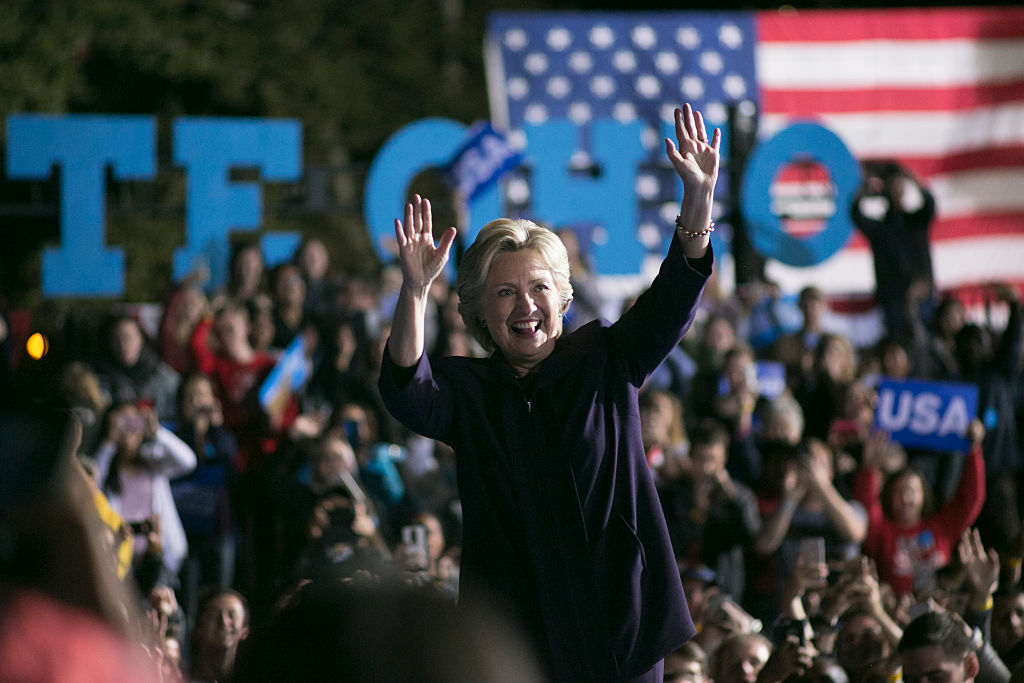 Hillary Clinton waves to the crowd after speaking at Ohio State University on October 10, 2016 (Getty Images)