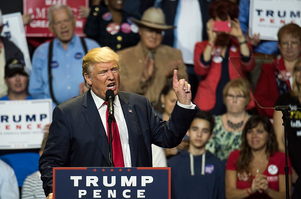 Donald Trump addresses the crowd at a campaign rally (Getty Images)
