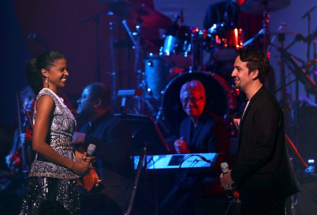 NEW YORK, NY - OCTOBER 17: Lin Manuel Miranda (R) performs with Renee Elise Goldsberry during the Hillary Victory Fund - Stronger Together concert at St. James Theatre on October 17, 2016 in New York City. Broadway stars and celebrities performed during a fundraising concert for the Hillary Clinton campaign. (Photo by Justin Sullivan/Getty Images)