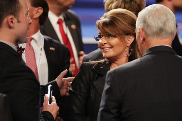 LAS VEGAS, NV - OCTOBER 19: Former Gov. Sarah Palin (R-AK) speaks with guests after the third U.S. presidential debate at the Thomas & Mack Center on October 19, 2016 in Las Vegas, Nevada. Tonight is the final debate ahead of Election Day on November 8. (Photo by Chip Somodevilla/Getty Images)