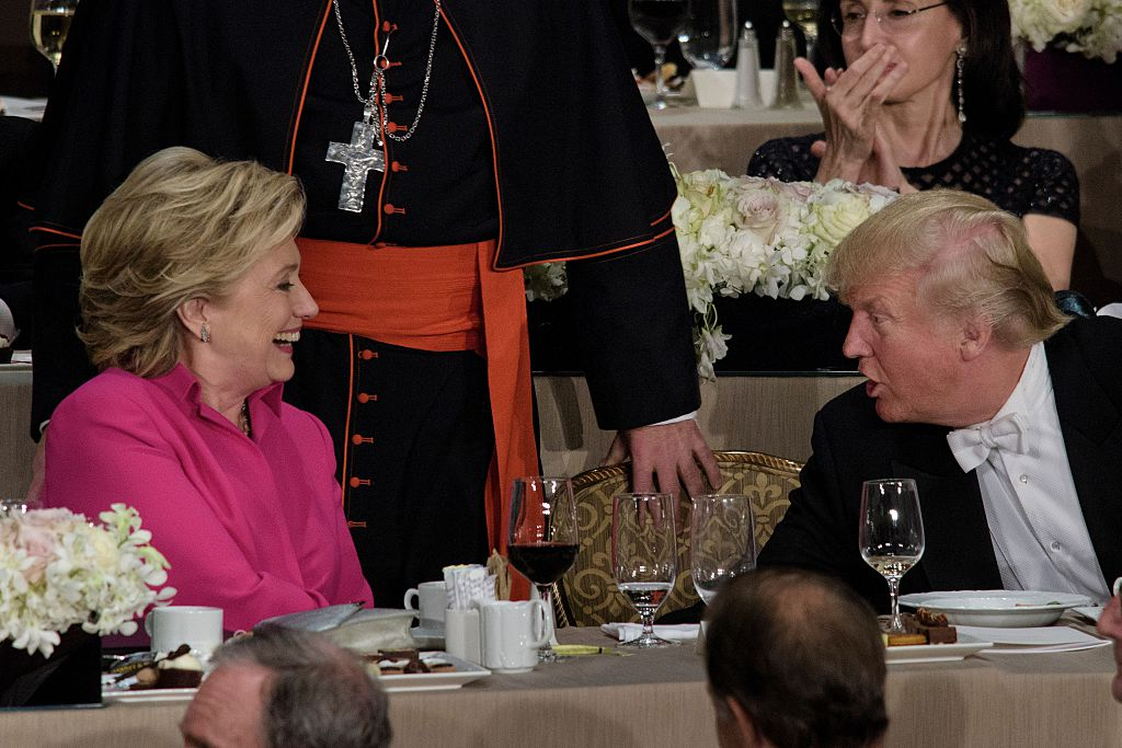 Hillary Clinton and Donald Trump shake hands after speaking during the Alfred E. Smith Memorial Foundation Dinner at the Waldorf Astoria on October 20, 2016 in New York City (Getty Images)