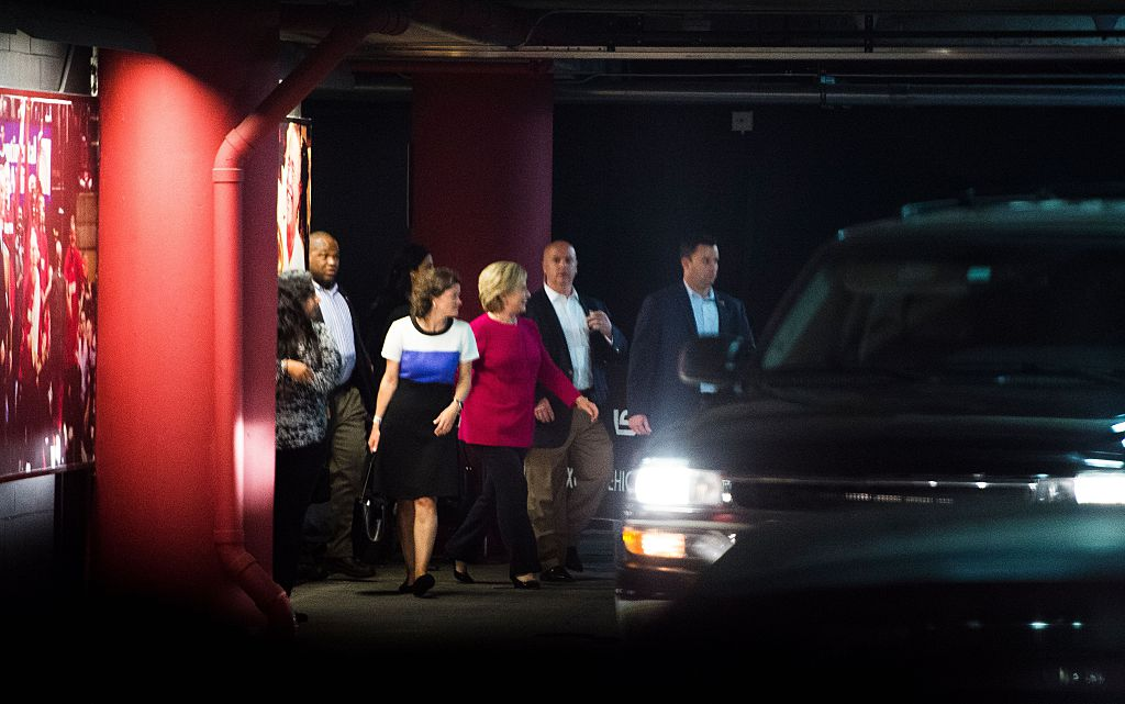 Democratic presidential nominee Hillary Clinton walks to her motorcade after attending an Adele concert in Miami, Florida. (Photo credit: ROBYN BECK/AFP/Getty Images)