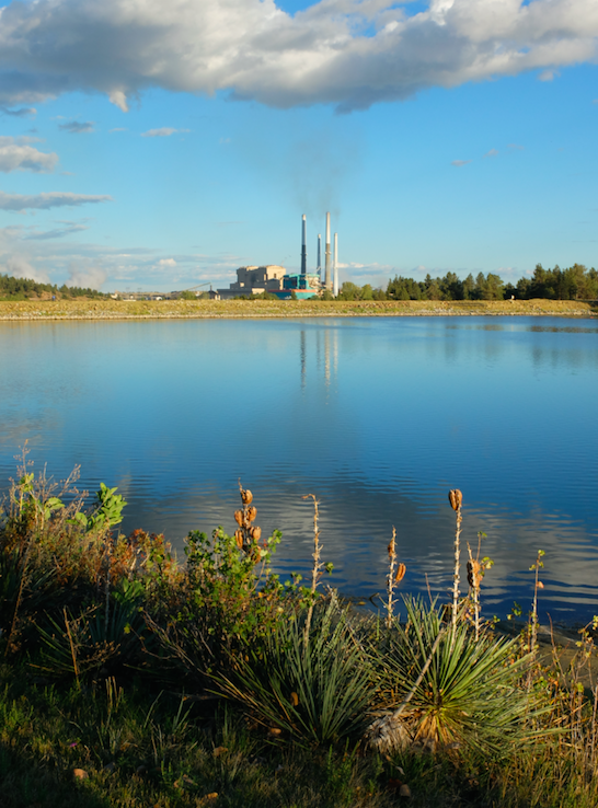 The Colstrip Plant is seen behind an artificial lake.
