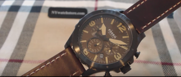 This is one of the Fossil watches on sale (YouTube screenshot)