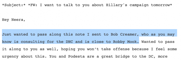 Email released by WikiLeaks
