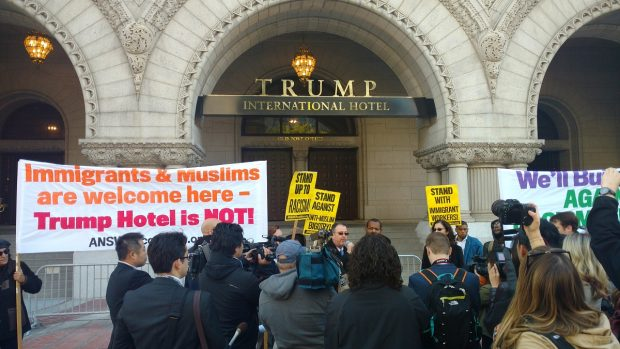 Protest outside Trump International Hotel. (Steve Birr/TheDCNF)