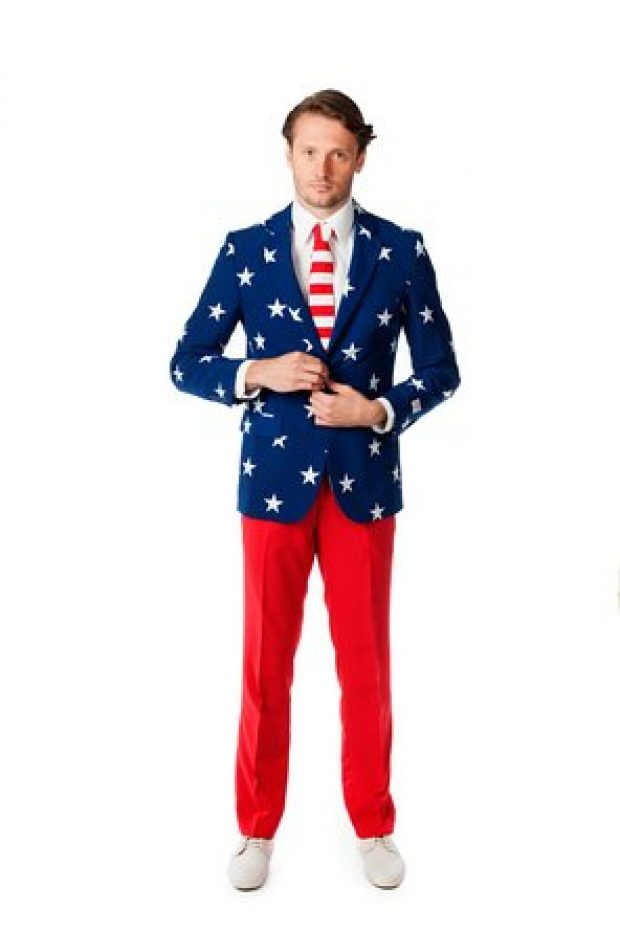 This stars and stripes suit normally costs $150 but is currently available for $68 (Photo via Amazon)