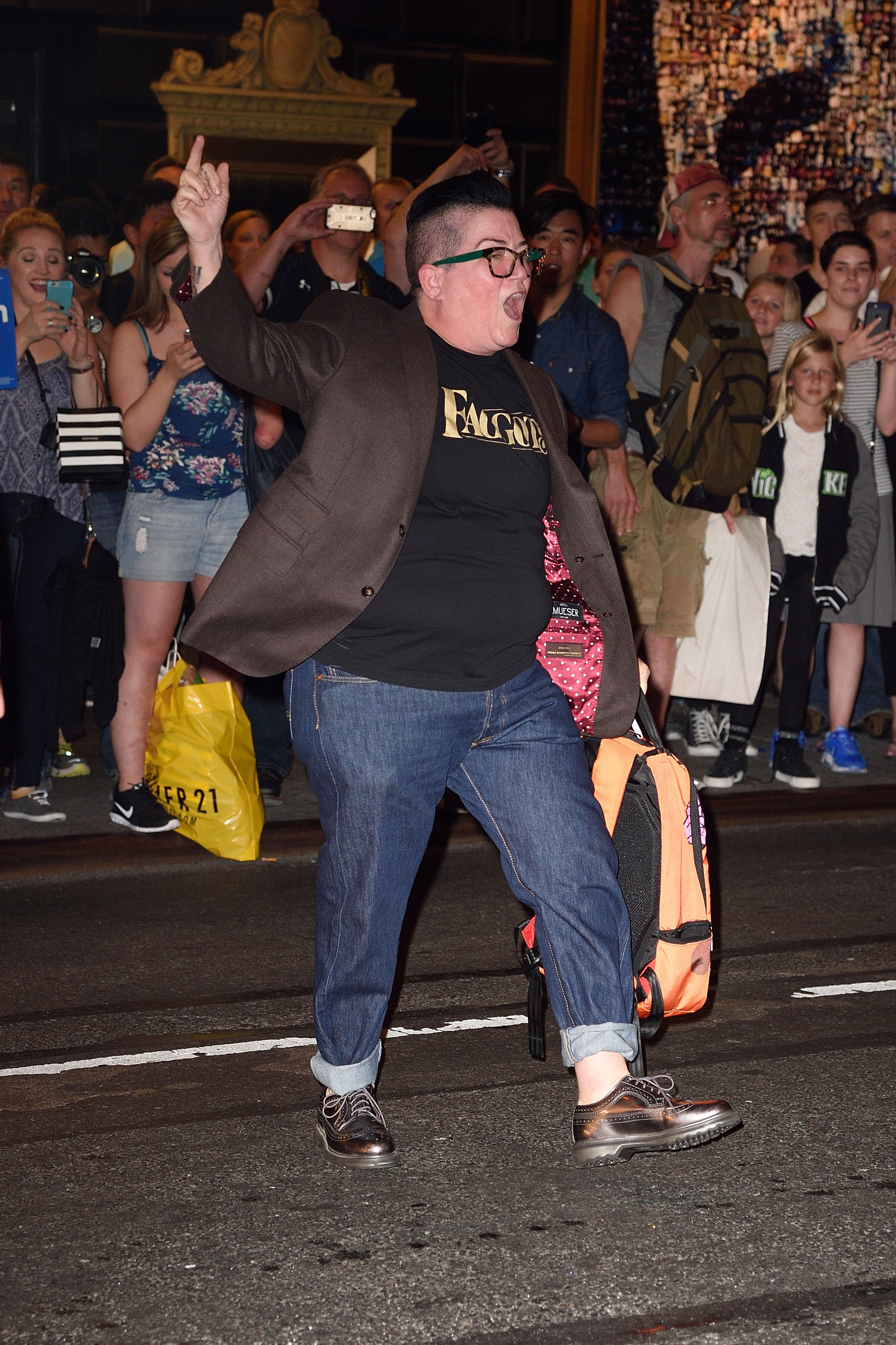 DeLaria leads an expletive chant outside a Hillary Clinton event (Photo credit: Splash News)