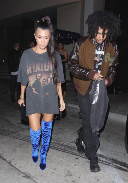 Kourtney Kardashian and Jonathan Cheban spotted leaving Catch restaurant in Los Angeles. Courtney wore blue sued thigh boots paired with a vintage Metallica T-shirt. <P> Pictured: Kourtney Kardashian <B>Ref: SPL1381614 271016 </B><BR /> Picture by: Bello / Splash News
