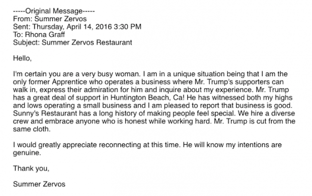 Zervos email courtesy of the Trump Campaign