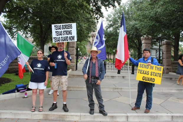 Supporters of the Texas Nationalist Movement gather to spread the word. (Facebook/Texas Nationalist Movement)
