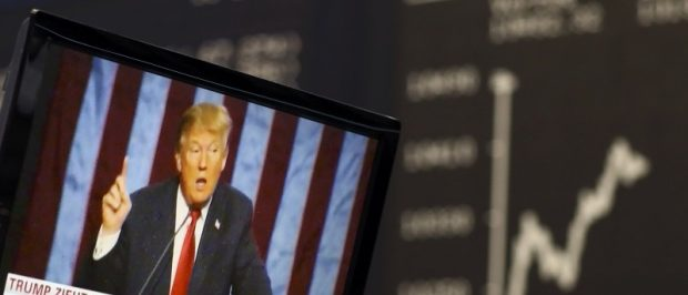 A TV screen showing U.S. President-elect Donald Trump is pictured November 9, 2016. REUTERS/Staff/Remote