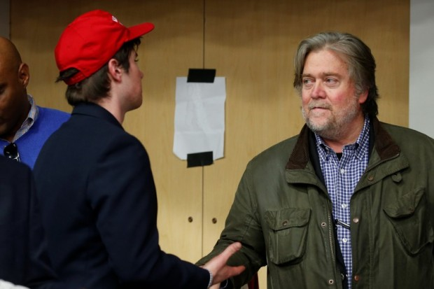 Republican presidential nominee Donald Trump's campaign CEO Steve Bannon is pictured backstage during a campaign event in Eau Claire, Wisconsin U.S. November 1, 2016. REUTERS/Carlo Allegri