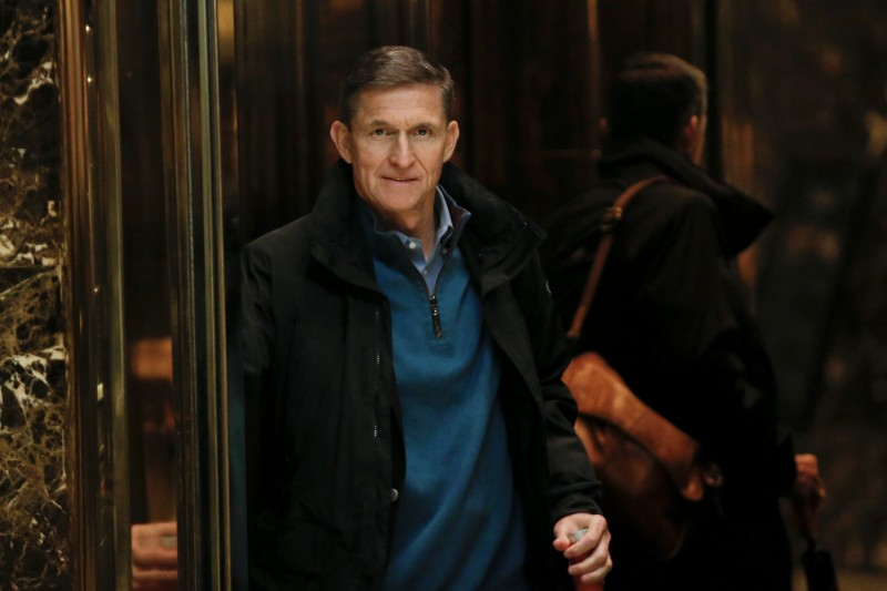 Retired U.S. Army Lieutenant General Michael Flynn boards an elevator as he arrives at Trump Tower where U.S. President-elect Donald Trump lives in New York (REUTERS/Mike Segar)