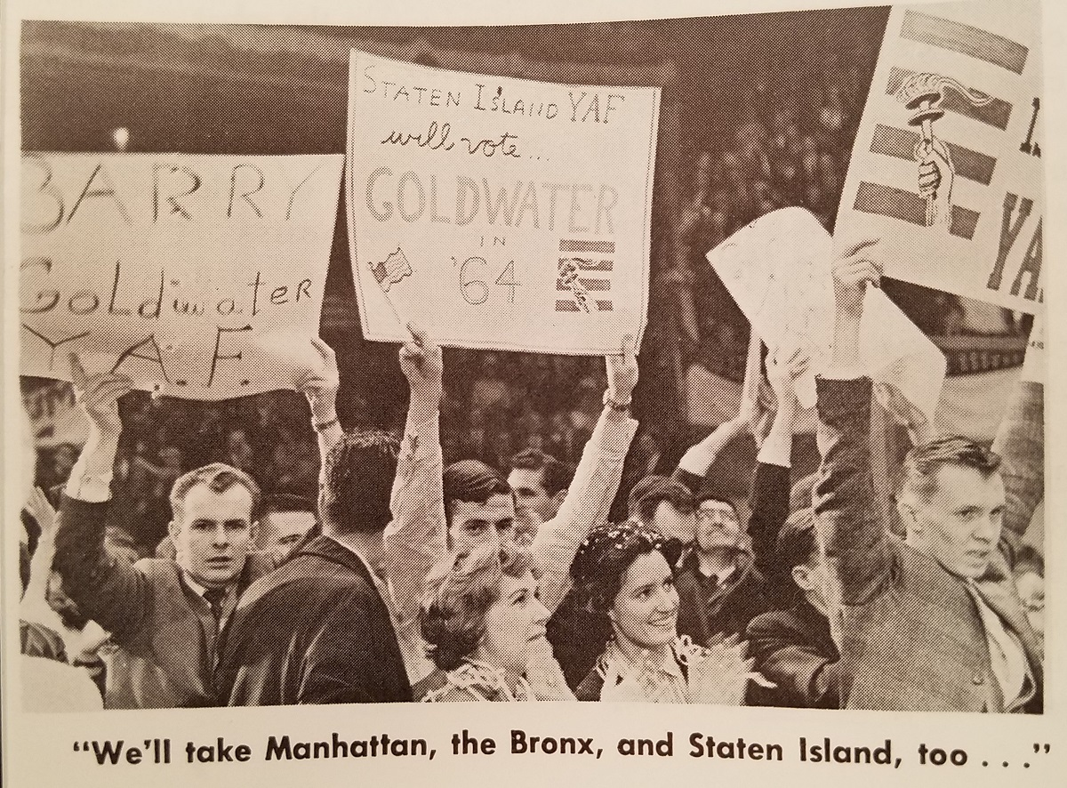 A scene from Young Americans for Freedoms Madison Square Garden rally, featured in The New Guard, edited by Lee Edwards.