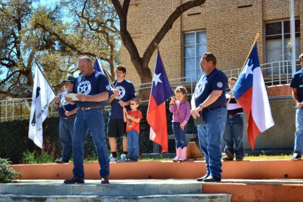 Supporters gather on the steps of a county courthouse in Texas (Facebook/Texas Nationalist Movement)
