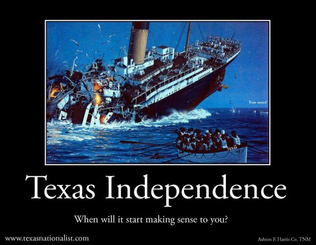 A meme posted by the group on Facebook compares the U.S. to a sinking ship. (Texas Nationalist Movement/Facebook)