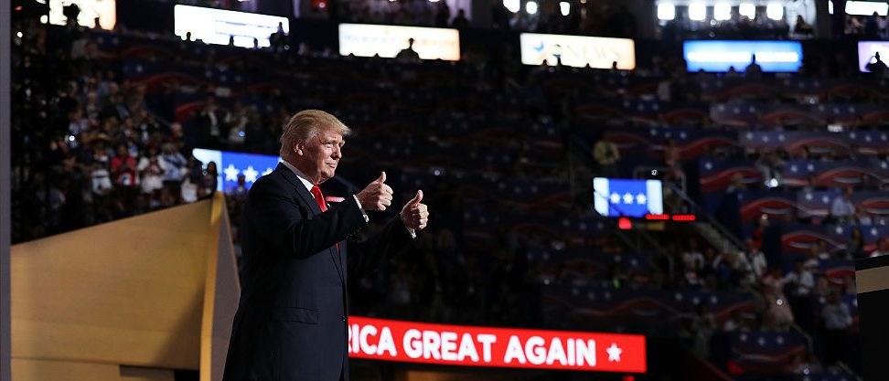 Donald Trump gives two thumbs up during the Republican National Convention. Joe Raedle/Getty Images.