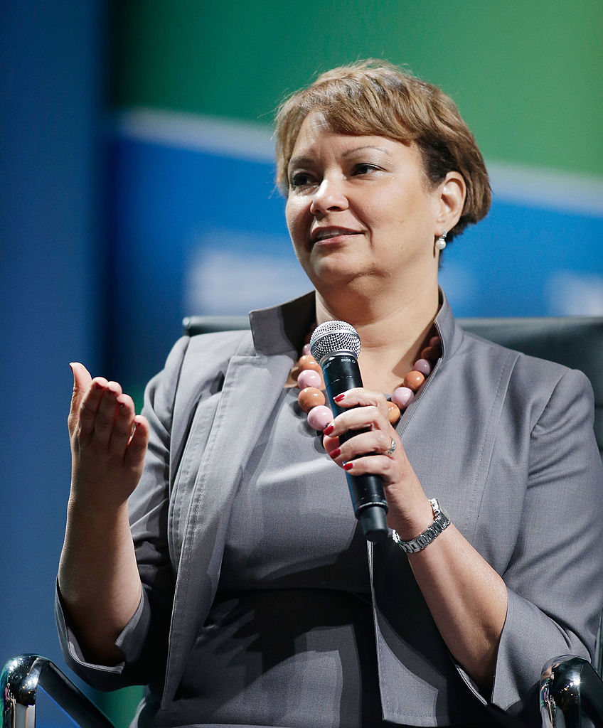 Lisa Jackson, Apple Vice President for Environmental Initiatives speaks during the National Clean Energy Summit 6.0 at Mandalay Bay Convention Center on August 13, 2013 in Las Vegas (Getty Images)