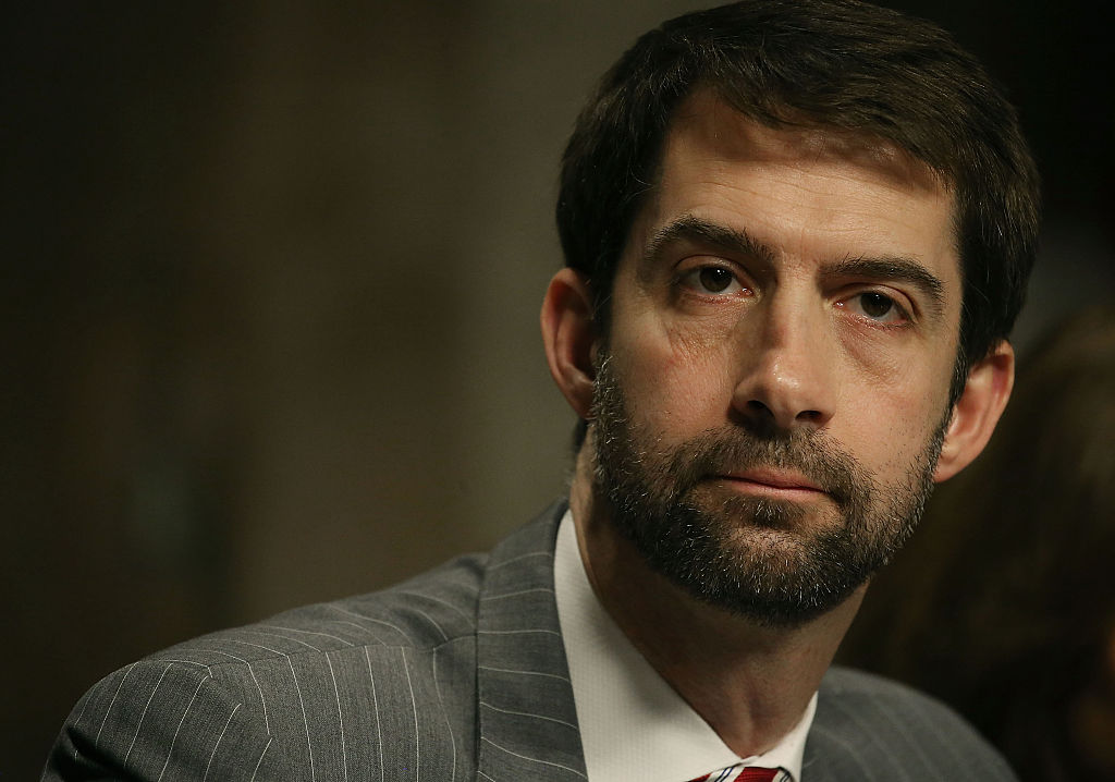 Sen. Tom Cotton listens to testimony during a Senate Armed Services Committee hearing on Capitol Hill on February 2, 2016 (Getty Images)