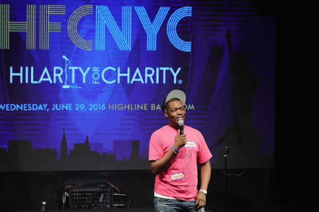 NEW YORK, NY - JUNE 29: Michael Che performs onstage during HFC NYC presented by Hilarity for Charity at Highline Ballroom on June 29, 2016 in New York City. (Photo by Neilson Barnard/Getty Images for Hilarity For Charity)