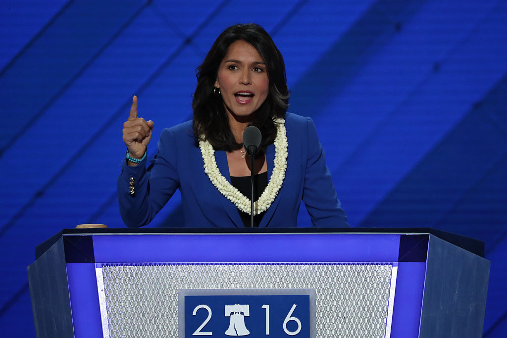 Tulsi Gabbard addresses the crowd at the second day of the Democratic National Convention at the Wells Fargo Center in Philadelphia on July 26, 2016 (Getty Images)