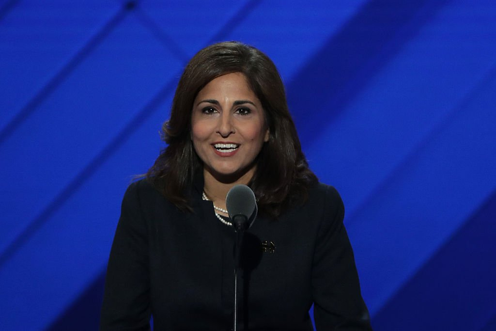 Neera Tanden speaks at the 2016 Democratic National Convention in Philadelphia (Getty Images)