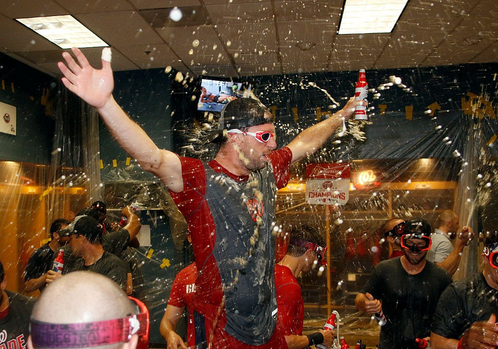 Max Scherzer of the Washington Nationals celebrates after clinching the National League East Division Championship. (Photo by Justin K. Aller/Getty Images)