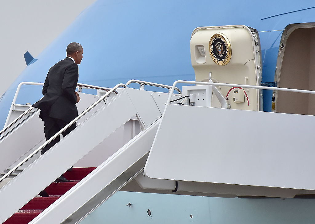 President Obama boards Air Force One (Photo credit: Getty Images)