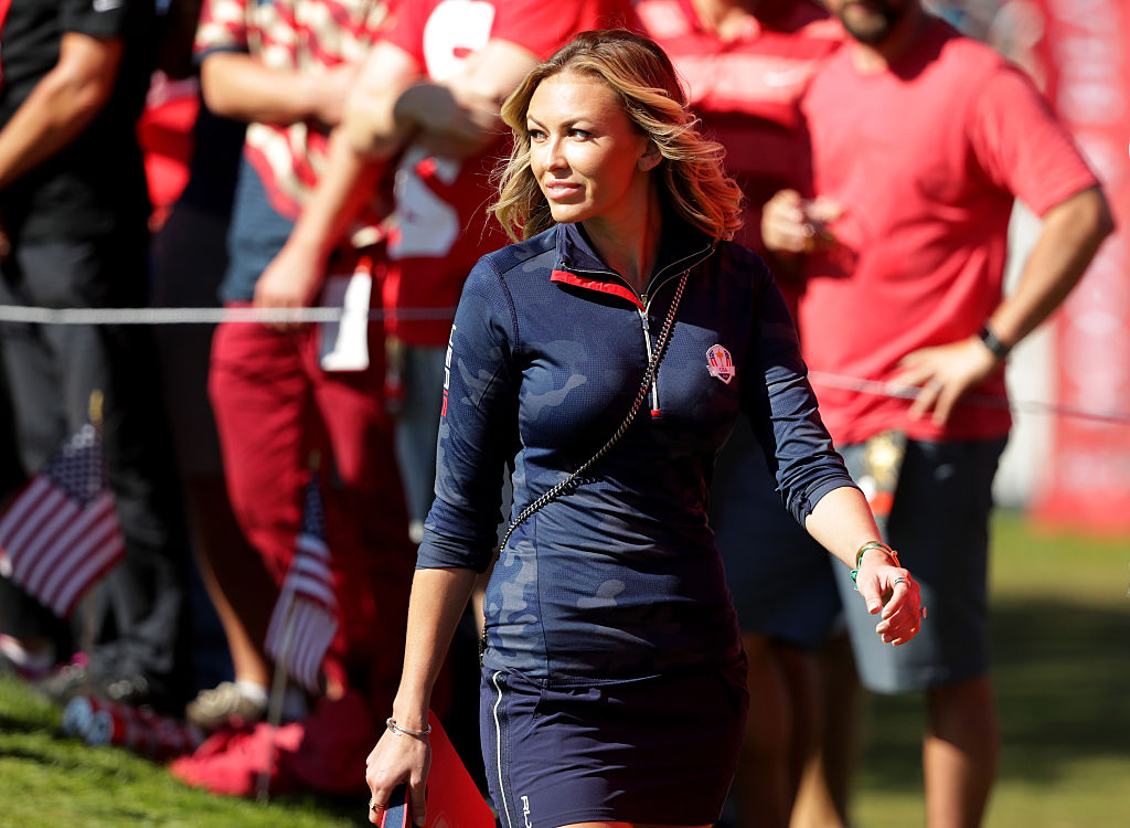 CHASKA, MN - OCTOBER 02: Paulina Gretzky looks on during singles matches of the 2016 Ryder Cup at Hazeltine National Golf Club on October 2, 2016 in Chaska, Minnesota. (Photo by Streeter Lecka/Getty Images)