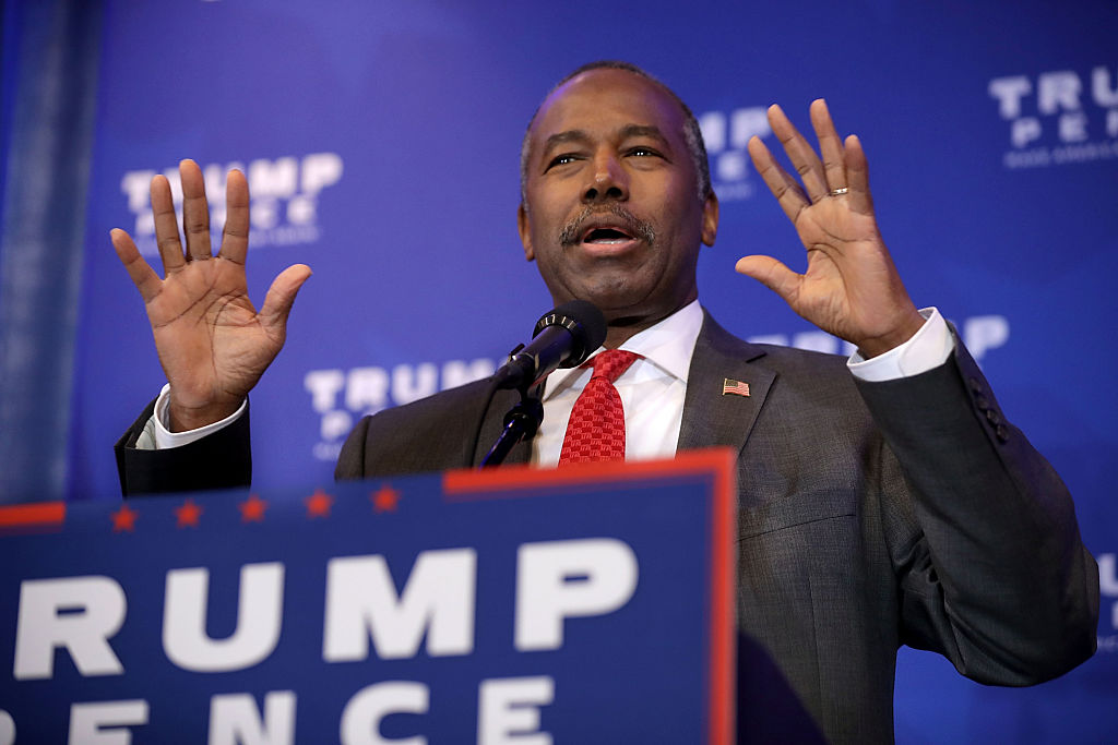 Ben Carson delivers remarks during a Trump campaign event at the DoubleTree by Hilton on November 1, 2016 in Valley Forge, Pennsylvania (Getty Images)