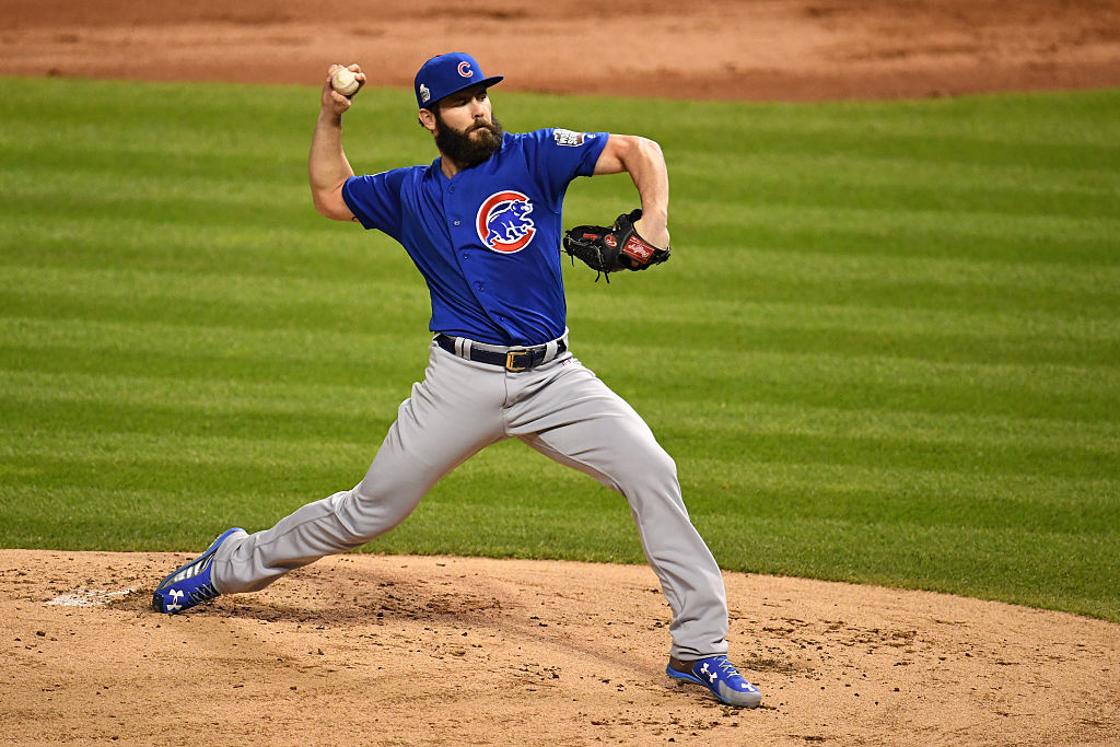 Chicago ace Jake Arrieta did not allow a run until the fourth inning. (Photo by Jason Miller/Getty Images)