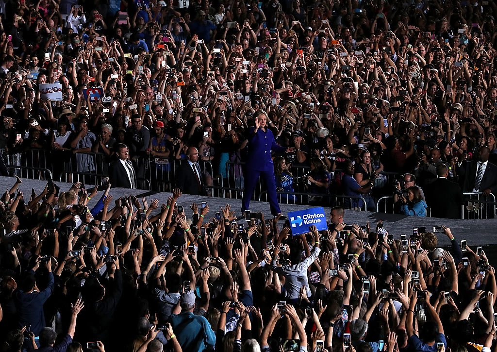 Hillary Clinton greets supporters during a campaign rally at Arizona State University on November 2, 2016 (Getty Images)