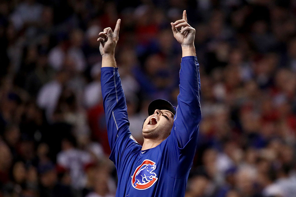 Anthony Rizzo #44 of the Chicago Cubs points to the sky after scoring a run in the 10th inning. (Photo by Ezra Shaw/Getty Images)