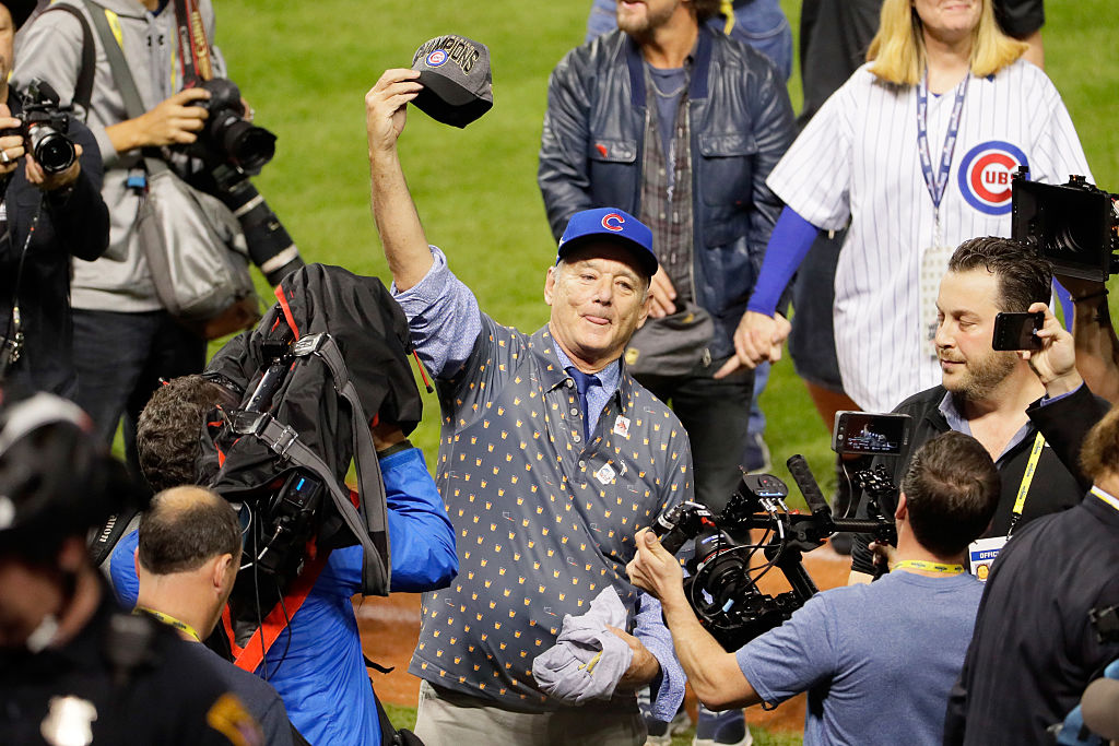 Actor Bill Murray reacts on the field after the Chicago Cubs defeated the Cleveland Indians 8-7 in Game Seven of the 2016 World Series. (Photo by Jamie Squire/Getty Images)