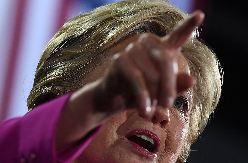Hillary Clinton speaks during a campaign rally in Raleigh, North Carolina, on November 3, 2016 (Getty Images)