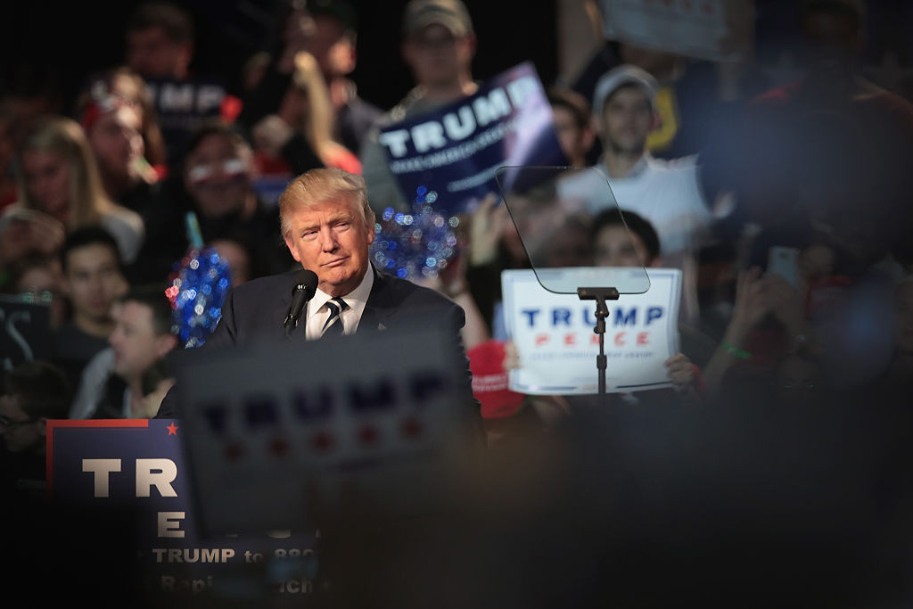 Donald Trump addresses supporters during a campaign rally in Grand Rapids, Michigan. (Getty Images)