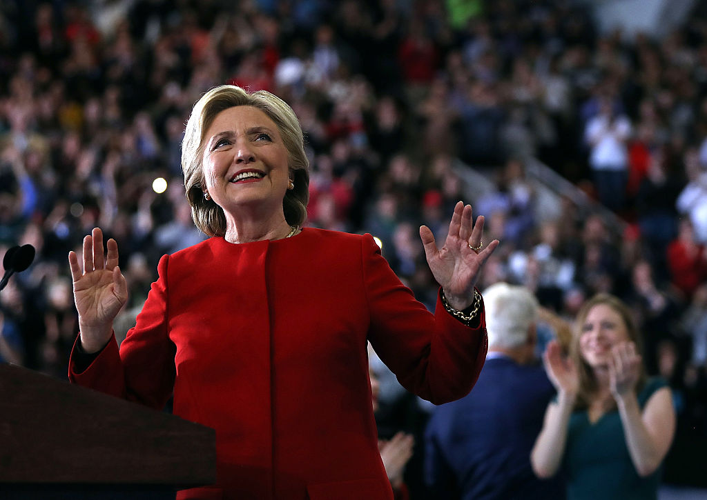 Hillary Clinton speaks during a campaign rally at North Carolina State University on November 8, 2016 in Raleigh, North Carolina (Getty Images)
