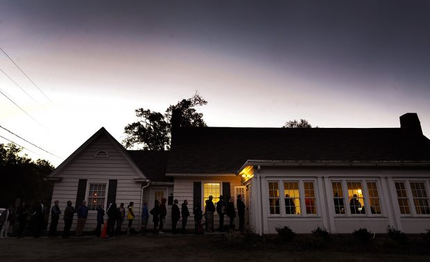 A line forms outside a voting precinct before it opens on November 8, 2016 in Durham, North Carolina. (Sara D. Davis/Getty Images)