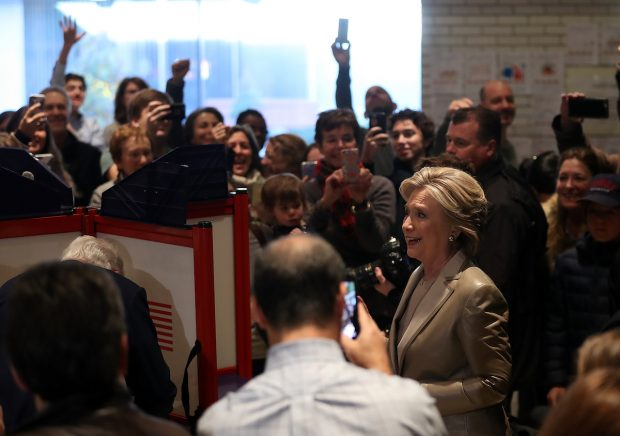 CHAPPAQUA, NY - NOVEMBER 08: A mob of people surround Democratic presidential nominee former Secretary of State Hillary Clinton as she votes at Douglas Grafflin Elementary School on November 8, 2016 in Chappaqua, New York. Hillary Clinton cast her ballot in the presidential election as the rest of America goes to the polls to decide between her and Republican presidential candidate Donald Trump. (Photo by Justin Sullivan/Getty Images)