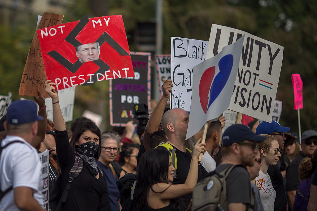 Anti-Trump protesters in Los Angeles (Getty Images)