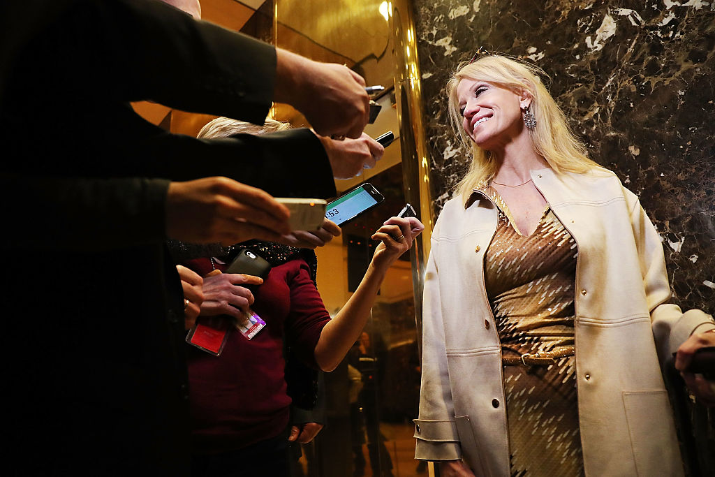 Kellyanne Conway speaks to reporters (Getty images)