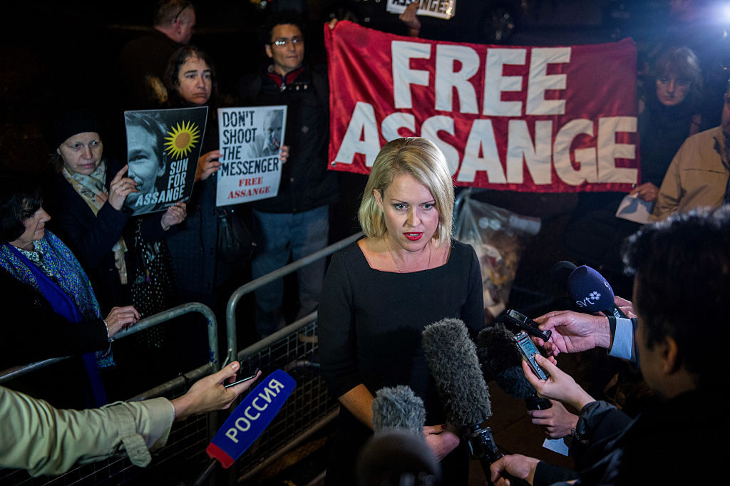 Jennifer Robinson speaks to the press after Swedish chief prosecutor Ingrid Isgren leaves the Embassy of Ecuador after questioning Wikileaks founder Julian Assange on November 14, 2016 (Getty Images)