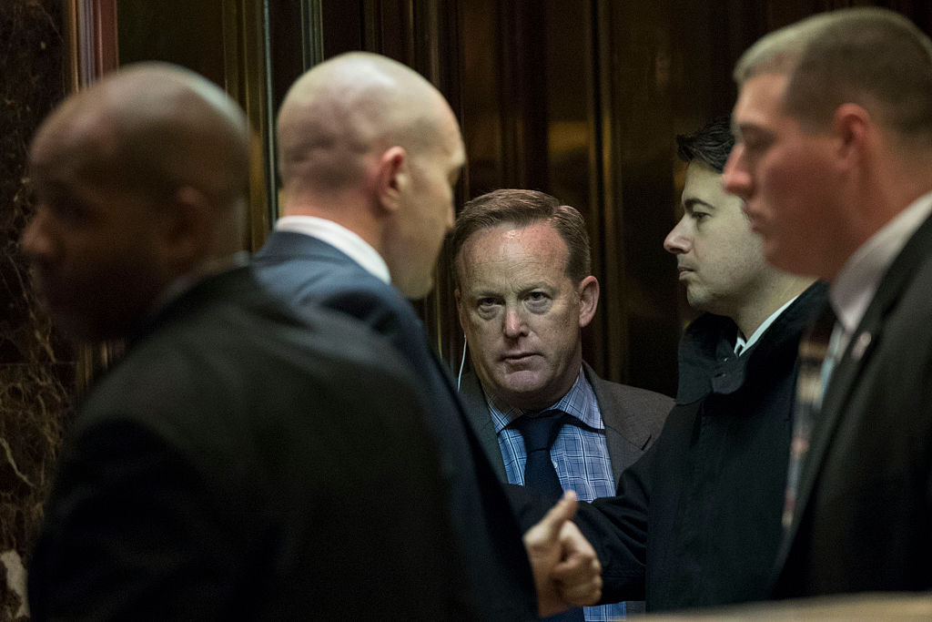 Sean Spicer waits in an elevator in Trump Tower (Getty Images)