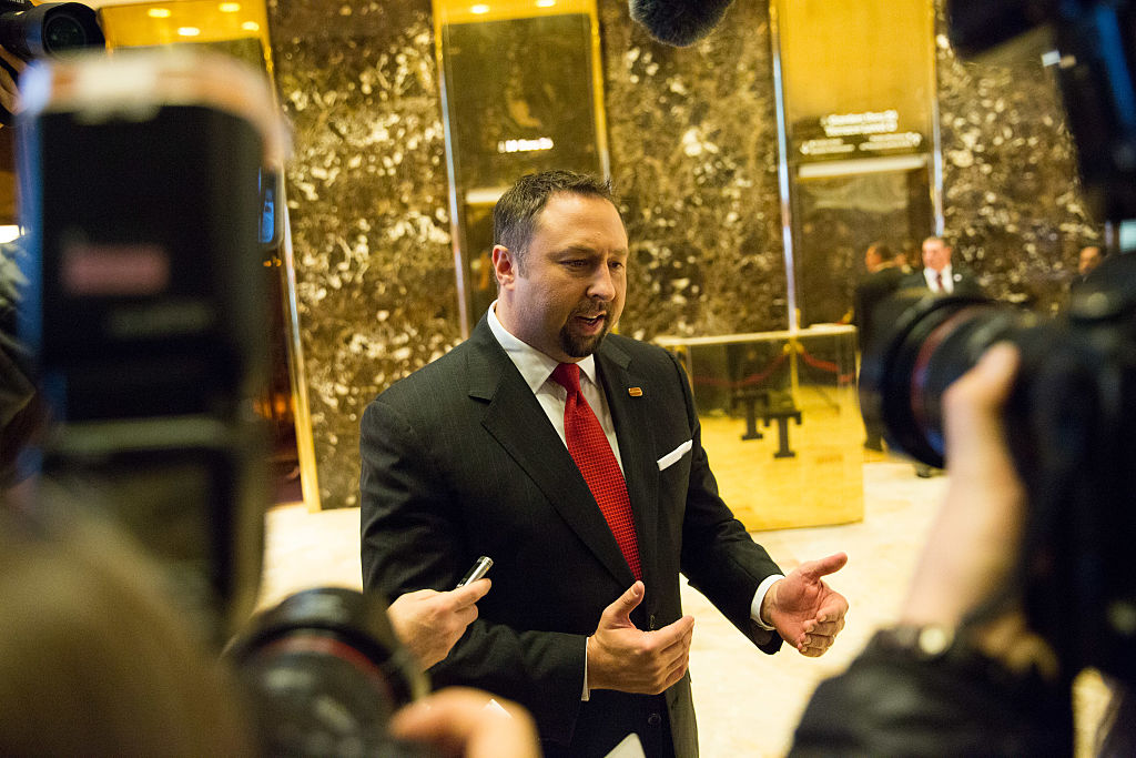 Jason Miller speaks to reporters at Trump Tower in New York City (Getty Images)