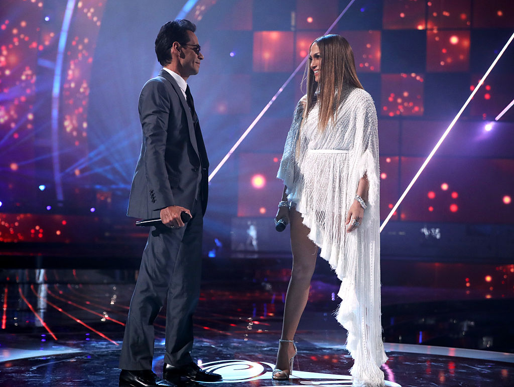 Marc Anthony and Jennifer Lopez on stage at The 17th Annual Latin Grammy Awards. (Photo credit: Getty Images)