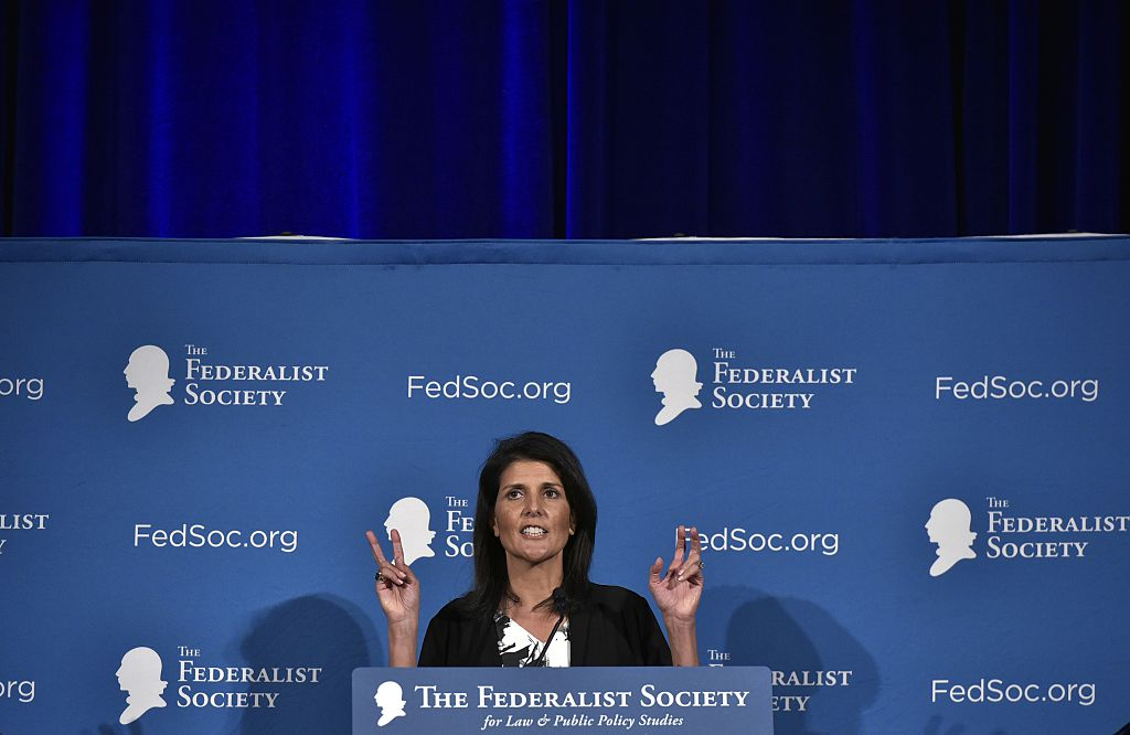 Nikki Haley speaks during the 2016 National Lawyers Convention sponsored by the Federalist Society in Washington, DC on November 18, 2016 (Getty Images)