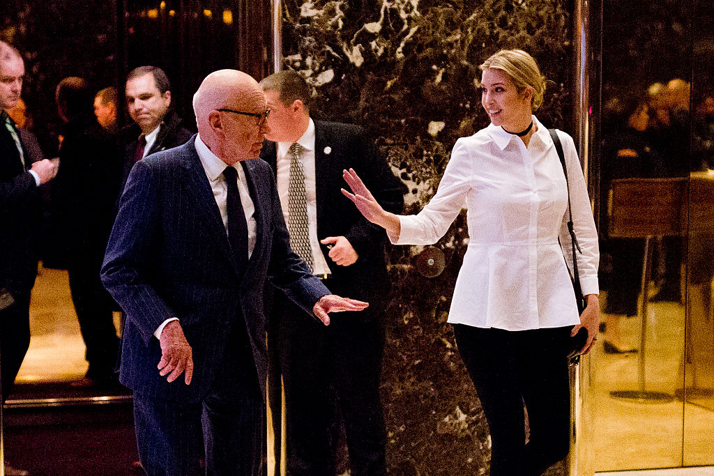 Ivanka Trump and Fox News CEO Rupert Murdoch leave Trump Tower in New York City on November 18, 2016 (Getty Images)