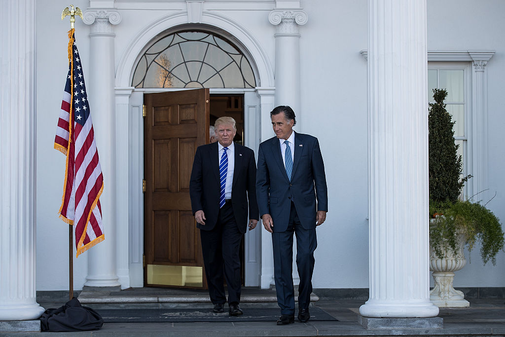 Donald Trump meets with Mitt Romney at Trump National (Getty Images)