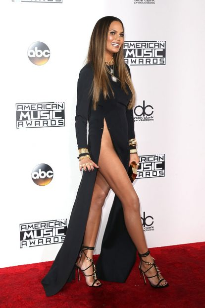 Model Chrissy Teigen stuns on the red carpet of the American Music Awards in Los Angeles. (Photo by Frederick M. Brown/Getty Images)